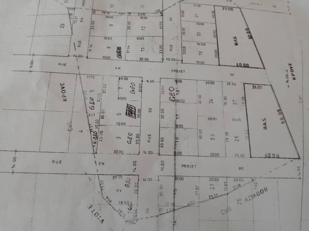 Terrain à vendre , vovi                         (Prefecture de l'Avé)                     , Akepe : 1 500  000 FCFA